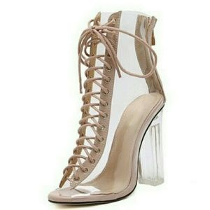 Shoes - Nude Laced hill